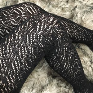 Other - Black knit fish net tights / stockings